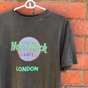 Vtg Hard Rock Cafe London Turquoise Pink Logo Tee